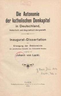 Die Autonomie der katholischen Domkapitel in Deutschland : historisch und dogmatisch dargestellt