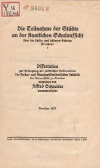 Die Teilnahme der Städte an der staatlichen Schulaufsicht über die Volks- und höheren Schulen Preußens