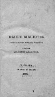 Dzieje bibliotek do Dziennika Warszawskiego