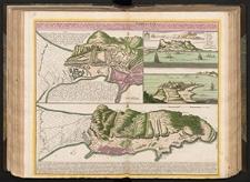 Neuester und exacter Plan und Prospect von der Stadt, Vestung, Bay und Fortification von Gibraltar, theils, wie es Lit: A mit den Approchen der Spanier, die sie im letztern Krieg dafür gemacht, zu sehen, theils wie es Lit: B seit der letztern Belagerung 1727 von den Engelländern zu besserer Sicherheit mit neuen Fortifications-Werckern vermehrt, und fast un-überwindlich gemacht, von den Spaniern hingegen gegen die Land-Seyte zu bey etlichen Iahren her mit neuen Linien eingeschlossen worden