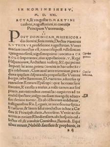 Acta Et Res Gestae, D. Martini Lutheri in Comitijs Principu[m] Vuormaciæ, Anno M D XXI.